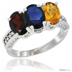 14K White Gold Natural Garnet, Blue Sapphire & Whisky Quartz Ring 3-Stone 7x5 mm Oval Diamond Accent