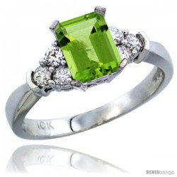 10K White Gold Natural Peridot Ring Emerald-shape 7x5 Stone Diamond Accent
