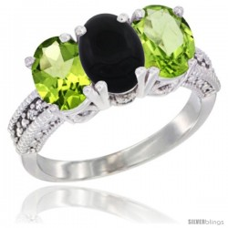 10K White Gold Natural Black Onyx & Peridot Sides Ring 3-Stone Oval 7x5 mm Diamond Accent