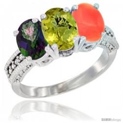 14K White Gold Natural Mystic Topaz, Lemon Quartz & Coral Ring 3-Stone 7x5 mm Oval Diamond Accent