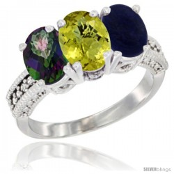 14K White Gold Natural Mystic Topaz, Lemon Quartz & Lapis Ring 3-Stone 7x5 mm Oval Diamond Accent