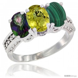 14K White Gold Natural Mystic Topaz, Lemon Quartz & Malachite Ring 3-Stone 7x5 mm Oval Diamond Accent