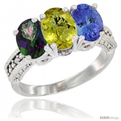 14K White Gold Natural Mystic Topaz, Lemon Quartz & Tanzanite Ring 3-Stone 7x5 mm Oval Diamond Accent