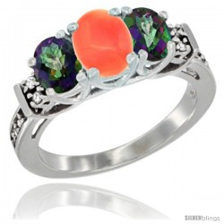 14K White Gold Natural Coral & Mystic Topaz Ring 3-Stone Oval with Diamond Accent
