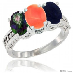 14K White Gold Natural Mystic Topaz, Coral & Lapis Ring 3-Stone 7x5 mm Oval Diamond Accent