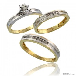 Gold Plated Sterling Silver Diamond Trio Wedding Ring Set His 4mm & Hers 3.5mm -Style Agy119w3