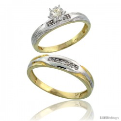 Gold Plated Sterling Silver 2-Piece Diamond Wedding Engagement Ring Set for Him & Her, 3.5mm & 4mm wide -Style Agy120em