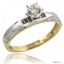 Gold Plated Sterling Silver Diamond Engagement Ring, 1/8 in wide -Style Agy120er
