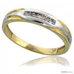 Gold Plated Sterling Silver Mens Diamond Wedding Band, 3/16 in wide -Style Agy120mb