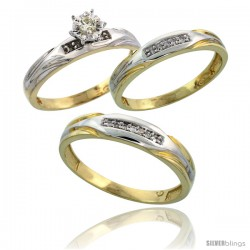 Gold Plated Sterling Silver Diamond Trio Wedding Ring Set His 5mm & Hers 3.5mm -Style Agy120w3