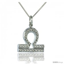 "Sterling Silver Zodiac Sign Libra Pendant Necklace, "" The Scales "" Astrological Sign ( Sept 23 - Oct 22 ), 11/16 in. (18 mm)"