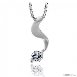 "High Polished Sterling Silver 13/16"" (20 mm) tall Swirl Pendant Slide, w/ 3mm Brilliant Cut CZ Stone, w/ 18"" Thin Box Chain"