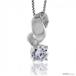 "High Polished Sterling Silver 7/8"" (22 mm) tall Swirl Pendant Slide, w/ 7mm Brilliant Cut CZ Stone, w/ 18"" Thin Box Chain"