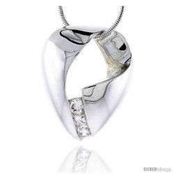 "Sterling Silver High Polished Freeform Slider Pendant, w/ Three 4mm CZ Stones, 1 1/8"" (29 mm) tall, w/ 18"" Thin Snake Chain"