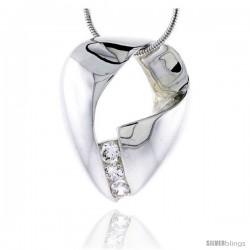 "Sterling Silver High Polished Freeform Slider Pendant, w/ Three 4mm CZ Stones, 1 1/8"" (29 mm) tall, w/ 18"" Thin Snake Chain"
