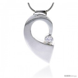 "Sterling Silver High Polished Half Heart Slider Pendant, w/ 4mm CZ Stone, 1 3/16"" (30 mm) tall, w/ 18"" Thin Snake Chain"