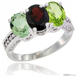 14K White Gold Natural Green Amethyst, Garnet & Peridot Ring 3-Stone 7x5 mm Oval Diamond Accent