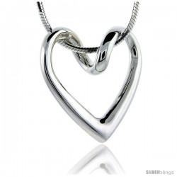 Flawless Sterling Silver Floating Heart, 13/16 in X 13/16 in