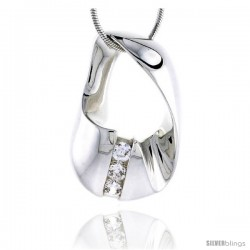 "Sterling Silver High Polished Freeform Slider Pendant, w/ Three 4mm CZ Stones, 1 1/8"" (29 mm) tall, w/ 18"" T -Style Pc157"