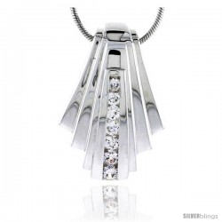 "Sterling Silver High Polished Fan-shaped Slider Pendant, w/ Graduated CZ Stones, 1 1/16"" (27 mm) tall, w/ 18"" Thin Snake Chain"