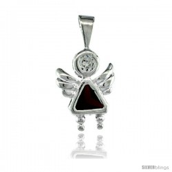 Sterling Silver January Birthstone Angel Pendant w/ Garnet Color Cubic Zirconia