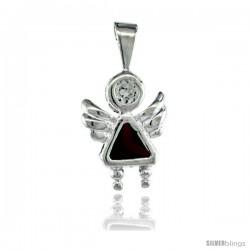 Sterling Silver January Birthstone Angel Pendant w/ Garnet Color Cubic Zirconia