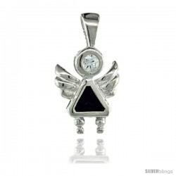 Sterling Silver February Birthstone Angel Pendant w/ Amethyst Color Cubic Zirconia