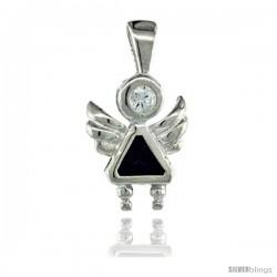 Sterling Silver February Birthstone Angel Pendant w/ Amethyst Color Cubic Zirconia