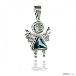 Sterling Silver March Birthstone Angel Pendant w/ Aquamarine Color Cubic Zirconia