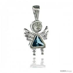 Sterling Silver March Birthstone Angel Pendant w/ Aquamarine Color Cubic Zirconia
