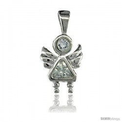 Sterling Silver April Birthstone Angel Pendant w/ Clear Color Cubic Zirconia