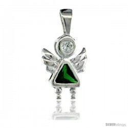 Sterling Silver May Birthstone Angel Pendant w/ Emerald Color Cubic Zirconia
