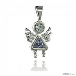 Sterling Silver June Birthstone Angel Pendant w/ Alexandrite Color Cubic Zirconia