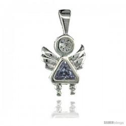 Sterling Silver June Birthstone Angel Pendant w/ Alexandrite Color Cubic Zirconia