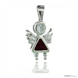 Sterling Silver July Birthstone Angel Pendant w/ Ruby Color Cubic Zirconia