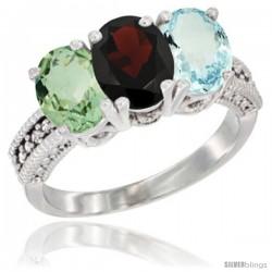 14K White Gold Natural Green Amethyst, Garnet & Aquamarine Ring 3-Stone 7x5 mm Oval Diamond Accent