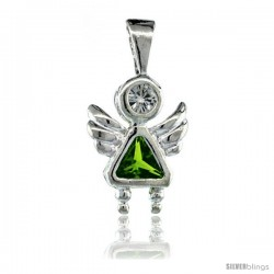 Sterling Silver August Birthstone Angel Pendant w/ Peridot Color Cubic Zirconia