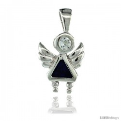 Sterling Silver September Birthstone Angel Pendant w/ Blue Sapphire Color Cubic Zirconia