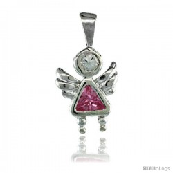 Sterling Silver October Birthstone Angel Pendant w/ Pink Tourmaline Color Cubic Zirconia