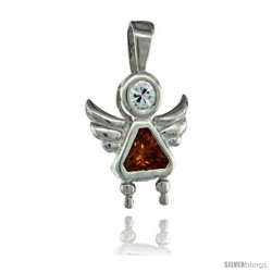 Sterling Silver November Birthstone Angel Pendant w/ Citrine Color Cubic Zirconia