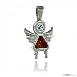 Sterling Silver November Birthstone Angel Pendant w/ Citrine Color Cubic Zirconia