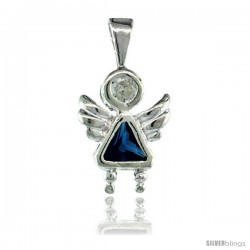 Sterling Silver December Birthstone Angel Pendant w/ Blue Topaz Color Cubic Zirconia