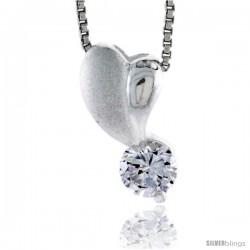 "High Polished Sterling Silver 11/16"" (17 mm) tall Heart Pendant, w/ 6mm Brilliant Cut CZ Stone, w/ 18"" Thin Box Chain"