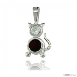 Sterling Silver January Birthstone Cat Pendant w/ Garnet Color Cubic Zirconia