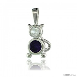 Sterling Silver February Birthstone Cat Pendant w/ Amethyst Color Cubic Zirconia