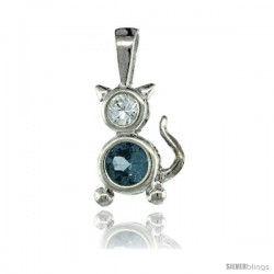 Sterling Silver March Birthstone Cat Pendant w/ Aquamarine Color Cubic Zirconia