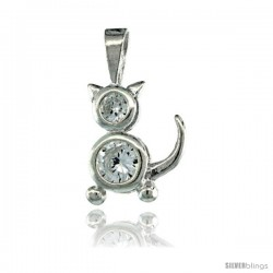 Sterling Silver April Birthstone Cat Pendant w/ Clear Color Cubic Zirconia