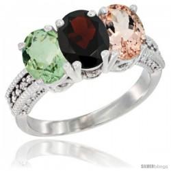 14K White Gold Natural Green Amethyst, Garnet & Morganite Ring 3-Stone 7x5 mm Oval Diamond Accent