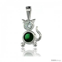 Sterling Silver May Birthstone Cat Pendant w/ Emerald Color Cubic Zirconia