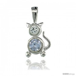 Sterling Silver June Birthstone Cat Pendant w/ Alexandrite Color Cubic Zirconia